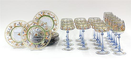 (lot of 24) Venetian hand painted glass plates and goblets