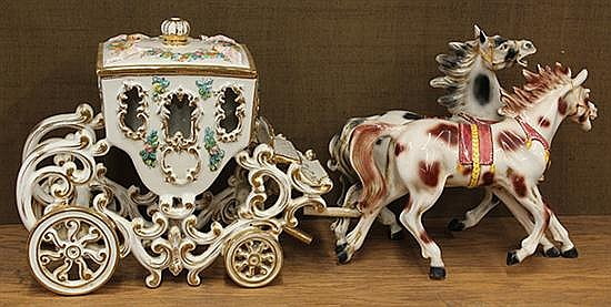 Continental polychrome decorated horse drawn carriage