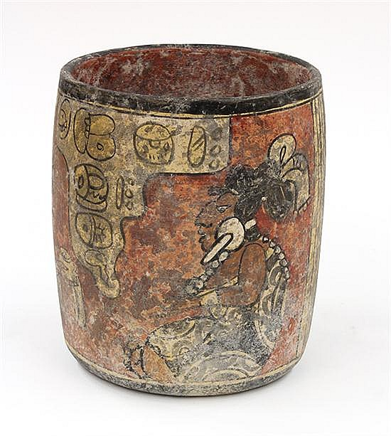 Pre-Columbian style codex vessel, of cylindrical form, the polychrome decorated body with a central reserve depicting two seated fig...
