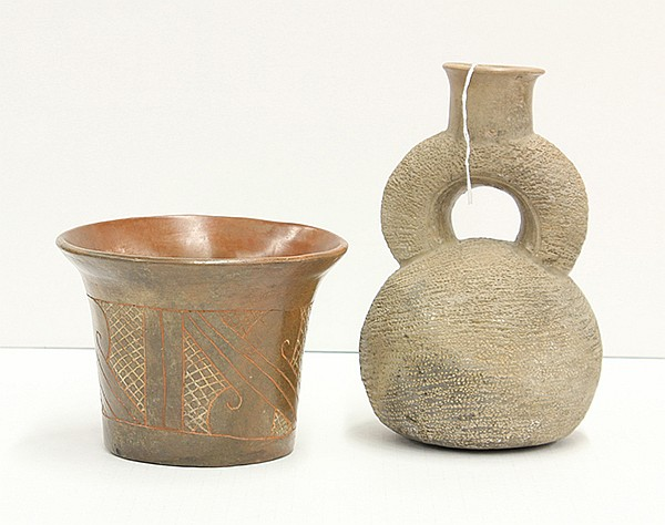 Stirrup bottle and olla, Chavin culture, North Coast, Peru