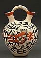Acoma pottery double-necked polychrome wedding vase