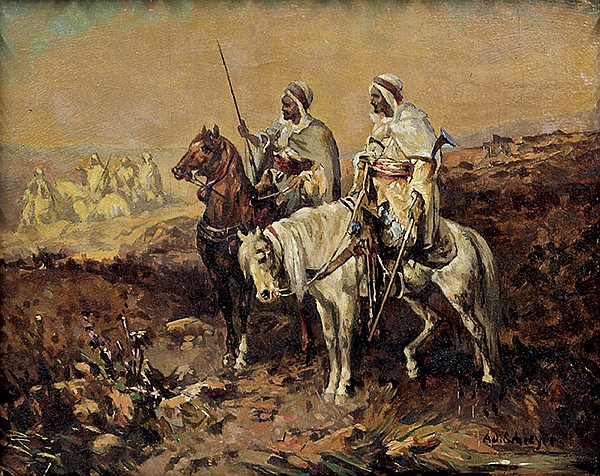 Painting, Adolf Schreyer, Orientalist Scene with Horsemen