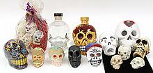 (lot of 13) One shelf of associated Day of the Dead skulls