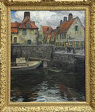 Painting, Emile Rommelaere, Village Dock, 1904