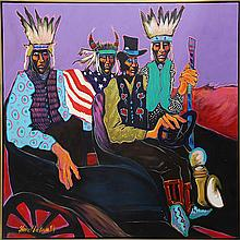 Painting, Hippie Indians in Vintage Car, 1994