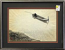 Japanese Woodblock Print, Solitary Fishing