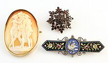 Collection of cameo, garnet and micro mosaic brooches