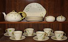 (lot of 16) Dessert service for six in the Irish Shamrock pattern by Belleek