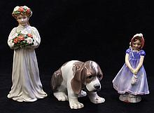 (lot of 3) Porcelain group, consisting of a Lladro seated hound, 3