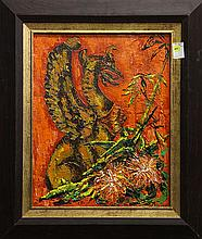 Painting, Still Life with Griffin Figurine and Flowers