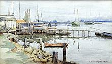 Watercolor, Richard Langtry Partington, Oakland Creek, 1890