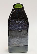 Art glass vase, having a bottle form