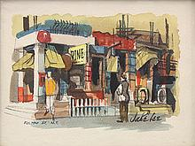 Watercolor, Jake Lee, Fulton St, New York