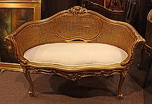 (lot of 2) Louis XV style giltwood carved settees