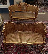 Pair of Louis XV style giltwood carved settees