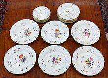 (lot of 17) Meissen polychrome decorated partial table service
