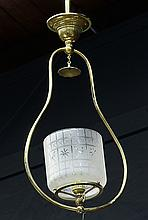 Regency style brass and etched glass hall lantern