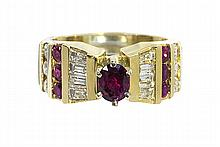 Diamond, ruby and 14k yellow gold ring