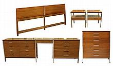 (lot of 7) Paul McCobb for Calvin bedroom suite executed in walnut and chrome