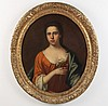 FINE 18TH C. IL ON CANVAS PORTRAIT OF WOMAN