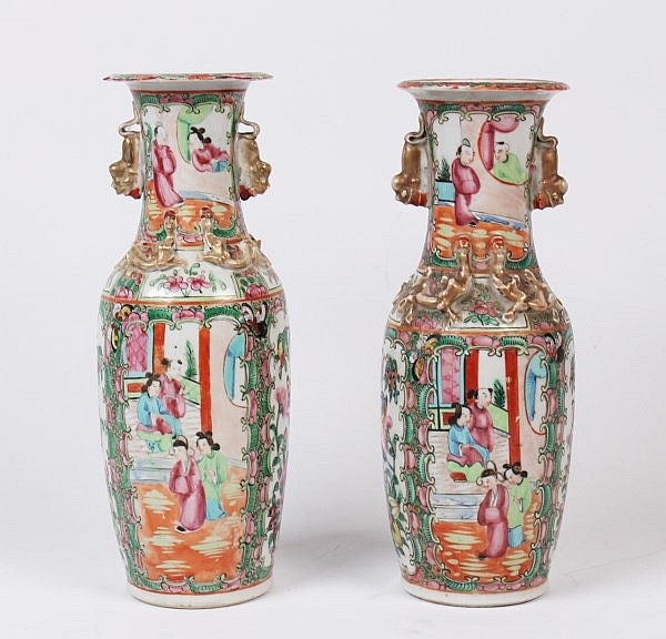 PAIR OF CHINESE ROSE MEDALLION VASES WITH FOO DOG MOUNTS