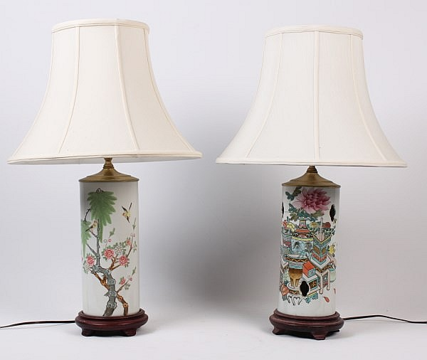 PAIR OF LATE 19TH C. ORIENTAL CHINESE PORCELAIN PIERCED HAT STANDS NOW WIRED WITH SILK SHADES