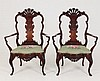 PAIR OF 19TH C. CARVED MAHOGANY PORTUGUESE ARMCHAIRS