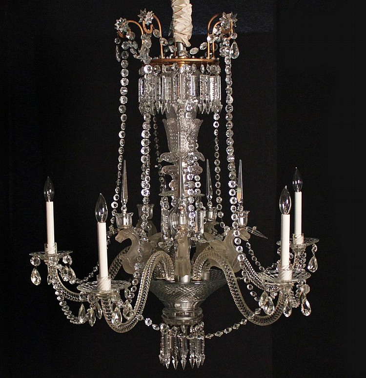IRISH CRYSTAL AND LALIQUE CHANDELIER
