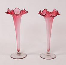 PAIR OF VICTORIAN CRANBERRY JACK IN PULPIT VASES