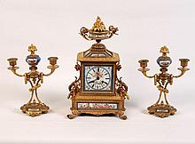 3 PIECE DORE BRONZE AND SEVRES CLOCK SET