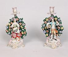 PAIR OF ENGLISH CHELSEA PORCELAIN CANDLESTICKS