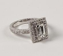 PLATINUM ENGRAVED, PAVE DIAMOND RING