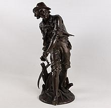 AIZELIN, 19TH C. FRENCH BRONZE SCULPTURE OF PEASANT BOY