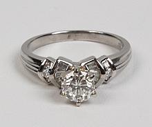 PLATINUM DIAMOND  RING HAVING 1.0 CT CENTER STONE