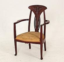AMERICAN ART NOVEAU STYLE CARVED MAHOGANY ARM CHAIR
