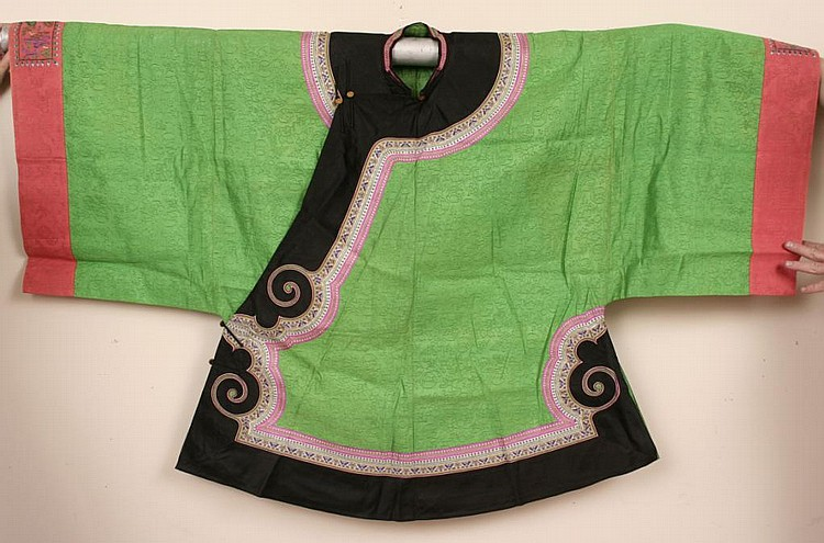 Antique Chinese Embroidered Green Silk Robe