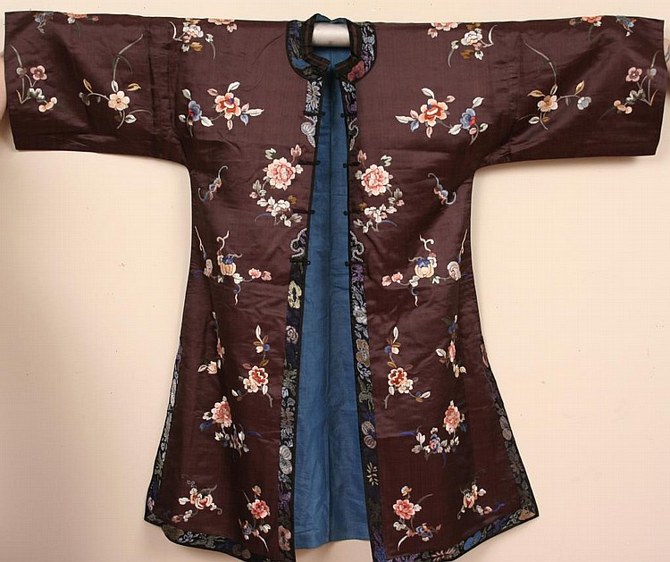 Antique Chinese Embroidered Plum Silk Robe