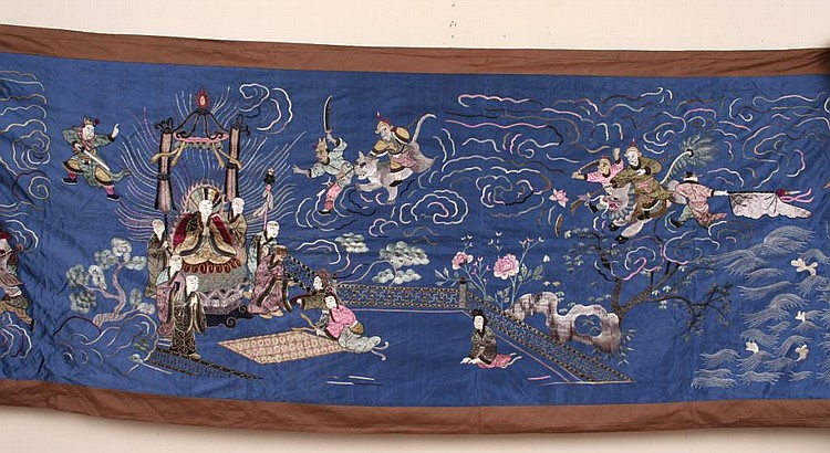 Antique Chinese Embroidered Silk Textile Banner