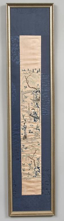 Framed Chinese Embroidered Silk Textile