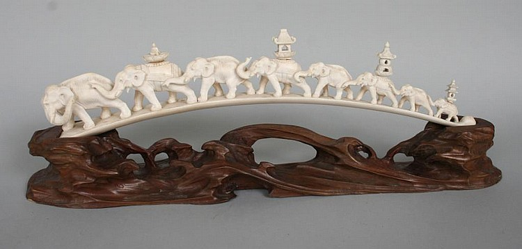 Graduated Ivory Carving of Elephant Procession