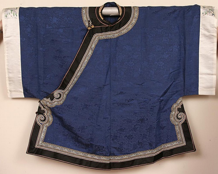 Antique Chinese Navy Blue Silk Embroidered Robe