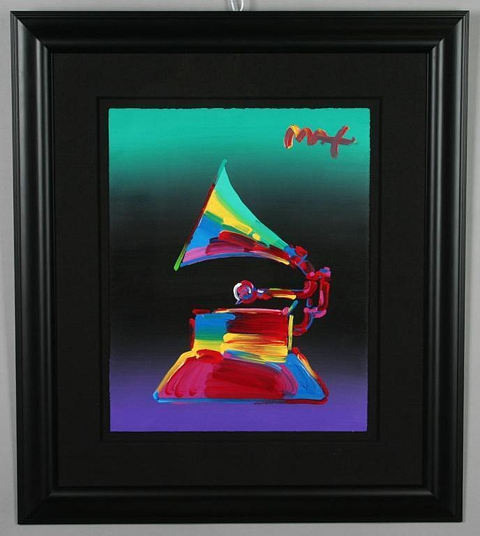Peter Max Grammy Mixed Media Painting on Paper