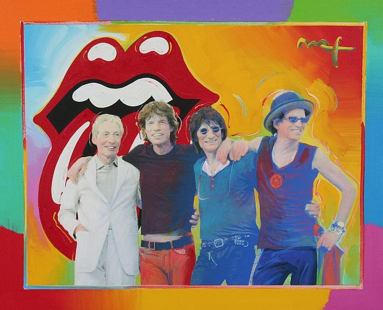 Peter Max Mixed Media Painting of the Rolling Stones