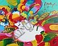 Peter Max Flower Blossom Lady Painting on Canvas