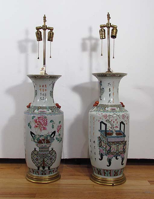 Pair of Chinese porcelain vases converted to lamps