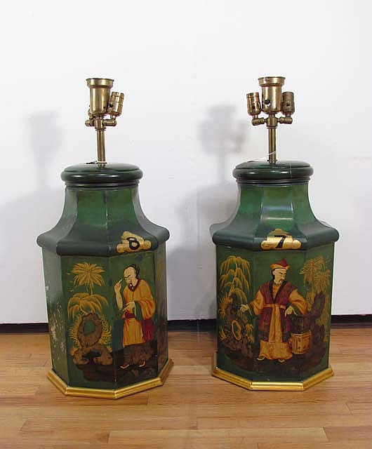 Pair of Octagonal Chinese Tole painted lamps