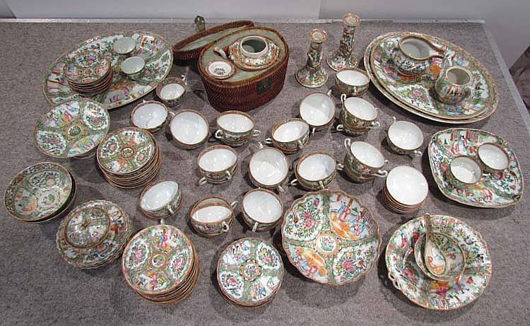 90 pc. Chinese Canton Famille Rose Dinner Service