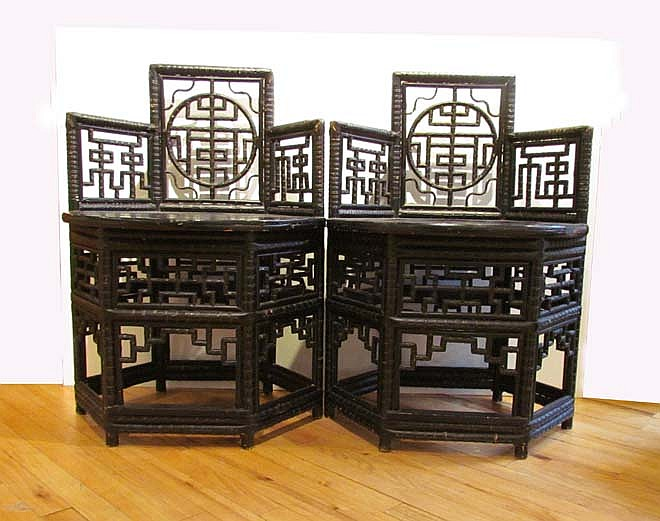 Pair of Chinese lacquered caned Bamboo Chairs circa 1900