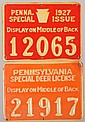 Lot of (2) PA tin plate hunting license tags: 1927 Special Issue and 1928 Special Deer License. Fine