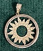 10 KT WHITE GOLD & DIAMOND SUN PENDANT 2.4 GRAMS